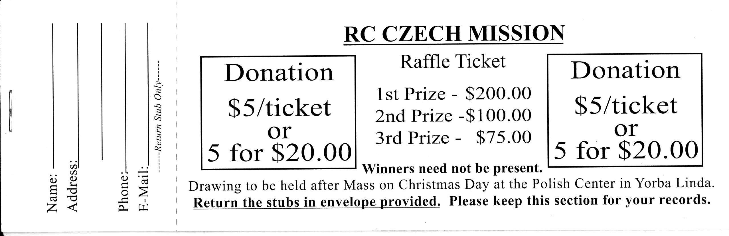 tombola tickets for christmas mass Česká katolická misie v kalifornii